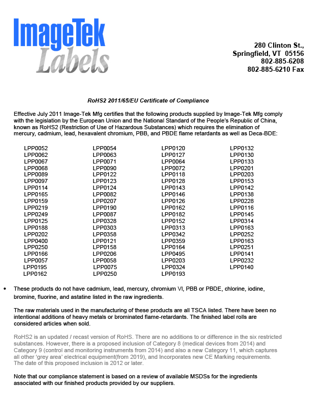 RoHS Certificate of Compliance by Material